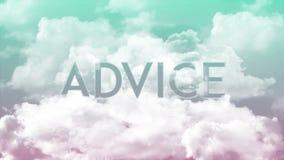 在云彩,绿色&红色天空颜色的词忠告 库存例证