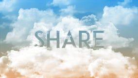 在云彩,蓝色&橙色天空颜色的词份额 向量例证
