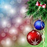 在云杉的分支的圣诞节球 向量例证