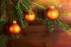 在云杉的分支的橙色圣诞节装饰品在木墙壁的背景 新年或圣诞节背景 免版税库存图片