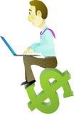 在互联网事务的成功与膝上型计算机 免版税库存图片