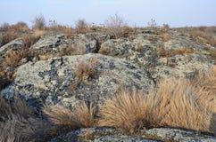 在五大连池全球性geopark的熔岩荒野在多云天气的华北 图库摄影