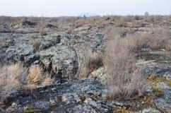 在五大连池全球性geopark的熔岩荒野在多云天气的华北 免版税图库摄影