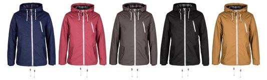 在五种颜色的夹克 免版税库存照片