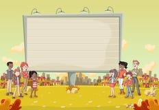在五颜六色的公园前面的五颜六色的人在有一个大广告牌的城市 图库摄影