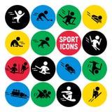 在五颜六色的圆的背景隔绝的传染媒介套平的体育象 免版税库存照片