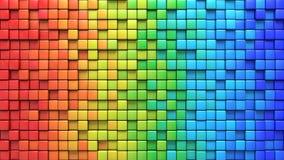 在五颜六色的墙壁3D的立方体回报 向量例证