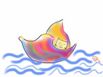 在五颜六色的壳的猫航行在水 库存图片