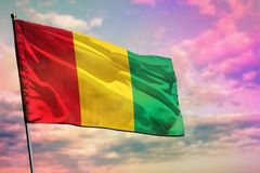 在五颜六色的多云天空背景的振翼的几内亚旗子 繁荣概念 库存照片