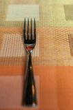 在五颜六色的家庭用亚麻布的叉子 库存照片