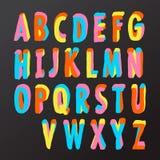 在五颜六色的样式的字母表设计 免版税库存照片