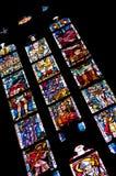 在五颜六色的玻璃的Medievel故事 免版税库存图片