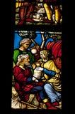 在五颜六色的玻璃的Medievel故事 库存图片