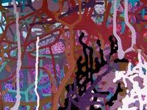 在五颜六色的背景帆布的抽象派丙烯酸酯的颜色绘画  免版税库存照片