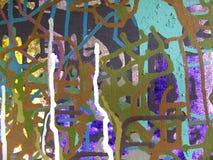 在五颜六色的背景帆布的抽象派丙烯酸酯的颜色绘画  免版税库存图片