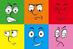在五颜六色的背景的人的表情 库存例证