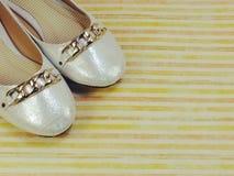 在五颜六色的背景的女性平的芭蕾舞鞋 库存照片
