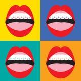 在五颜六色的背景的括号矫正畸齿矫正术 免版税图库摄影