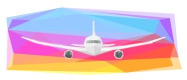 在五颜六色的背景,传染媒介的飞机 库存例证