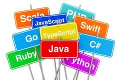 在五颜六色的路标的机器代码语言 3d翻译 免版税库存照片