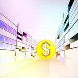 在五颜六色的银行业务城市街道的美元硬币  免版税库存图片