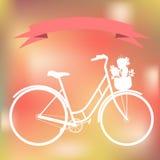在五颜六色的blured背景的白色自行车 免版税库存照片