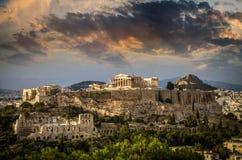 在亚典人上城,雅典,希腊的帕台农神庙寺庙 免版税库存图片