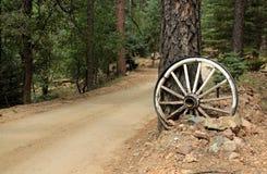 在亚利桑那布拉德肖山路的马车车轮 库存照片