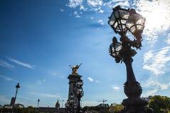 在亚历山大三世桥梁的古铜色灯 库存照片