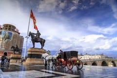 在亚历山大大帝附近, Skopj的纪念碑的马支架 免版税图库摄影