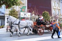 在亚历山大大帝附近, Skopj的纪念碑的马支架 免版税库存图片