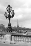 在亚历山大III桥梁的街道灯笼有艾菲尔铁塔的在巴黎,法国,单色 免版税图库摄影