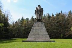在亚娜Zizka风景的雕象从Trocnov, Borovany -捷克的 免版税库存图片