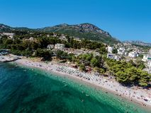 在亚得里亚海的酒吧镇靠岸位于黑山 免版税库存图片
