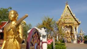 在亚洲寺庙附近的五颜六色的雕象 在装饰佛教寺庙附近的两个明亮的多彩多姿的雕象位于好日子 股票录像