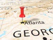 在亚特兰大地图的图钉 皇族释放例证