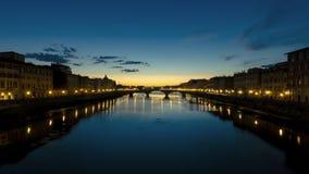 在亚诺河河的日落在佛罗伦萨,意大利 免版税库存图片