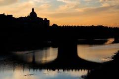 在亚诺河的日落 免版税库存图片