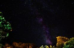 在亚速尔群岛天空的Milkyway 免版税库存照片