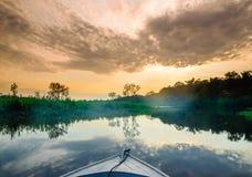 在亚马逊的小船在巴西 免版税图库摄影