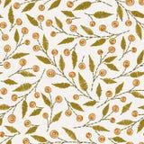 在亚麻布纹理的刺绣花卉无缝的样式 库存例证