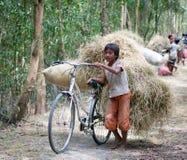 在亚洲乡下的童工 图库摄影