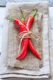 在亚麻制纹理和木桌,香料的辣椒 免版税库存照片