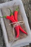 在亚麻制纹理和木桌,香料的辣椒 免版税库存图片