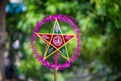 在亚洲的中间秋天节日的传统颜色装饰 免版税库存图片