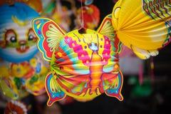 在亚洲的中间秋天节日的传统颜色装饰 库存照片
