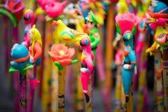 在亚洲的中间秋天节日的传统颜色装饰 免版税图库摄影
