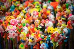 在亚洲的中间秋天节日的传统颜色装饰 免版税库存照片