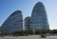 在亚洲,北京,中国,现代建筑学,望京苏荷区 免版税库存照片