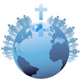 在交叉之下的世界全球基督徒地球 库存照片